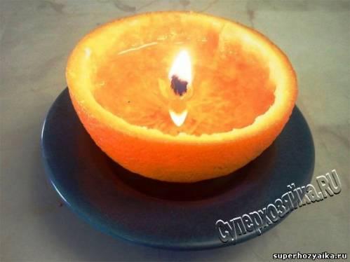 Салат и свеча из апельсинов