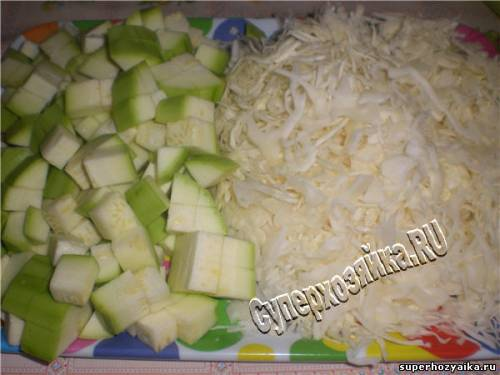 Соте из кабачков и капусты