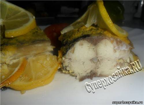 Скумбрия в духовке под яичной шубой