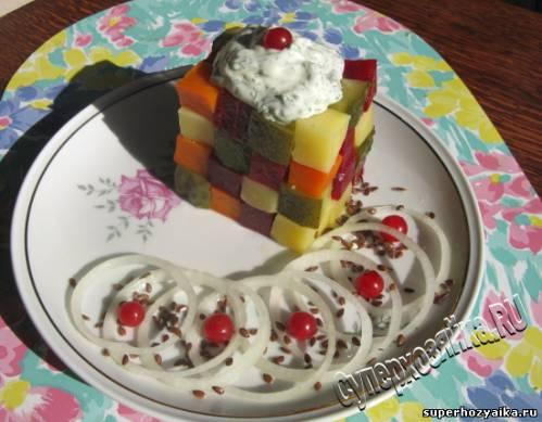 Салат в форме кубика рубика