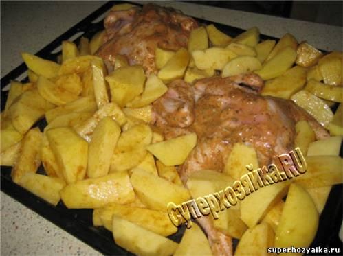 Цыпленок с картофелем в духовке