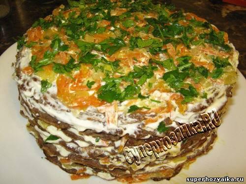 печёночный торт из говяжьей печени рецепт пошагово