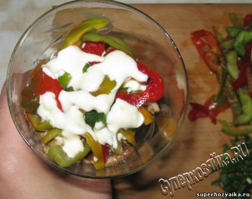 Коктейль салат со сладким перцем