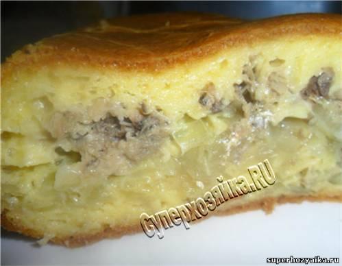 Пирог с рыбными консервами и картофелем. Рецепт