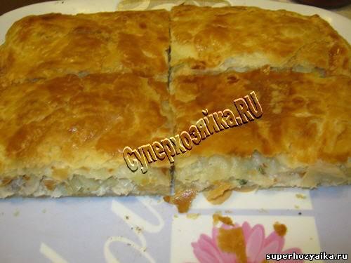 пирог с фаршем и картошкой в духовке из дрожжевого