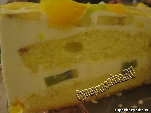 Рецепты бисквитного фруктового торта в домашних условиях