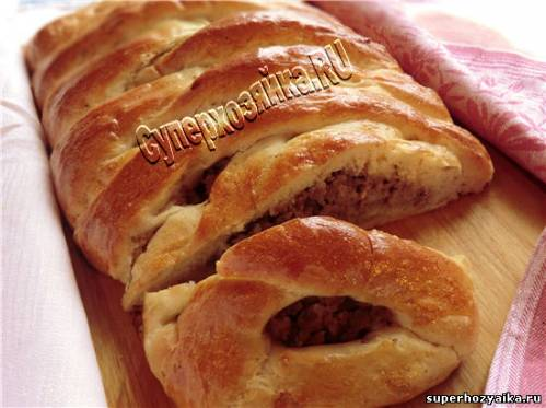 пирог из дрожжевого теста с фаршем и капустой в духовке рецепт с фото