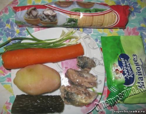 Салат в корзиночке, ингредиенты