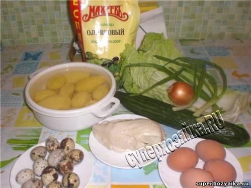 Салат с курицей и картофелем фри. Салат Гнездо глухаря.