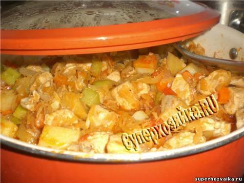 Соте с курицей и овощами