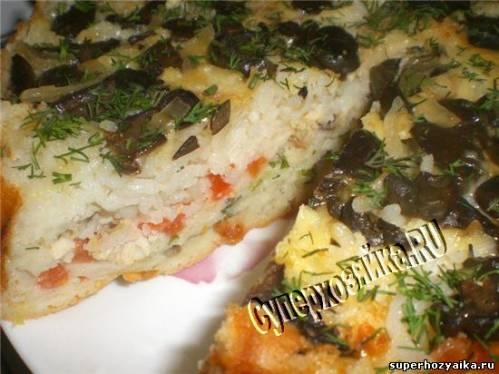 Пирог с курицей. грибами и сыром