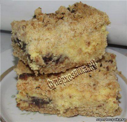 Насыпной пирог с творогом и шоколадом