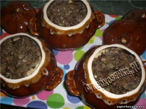 Запеченная курица с грибами в горшочках