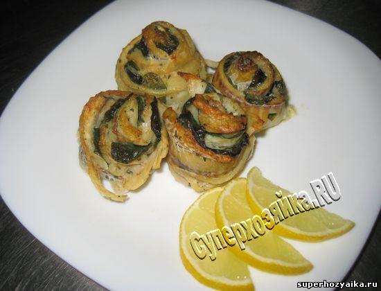 Рыбные рулетики со шпинатом