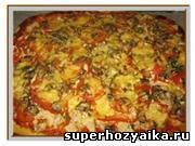 Пицца - рецепты с фото. Тесто для пиццы. Рецепт пиццы с курицей в домашних услов...