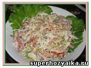 Праздничные салаты. Вкусные салаты с колбасой. Салат оливье с колбасой. Салат с ...