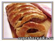 Плетеный пирог из дрожжевого теста. Пирог с мясным фаршем и картофелем. Пошаговы...