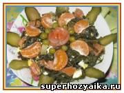 Салат праздничный, рецепты салатов с фото. Салат без майонеза. Легкий салат из морской капусты с красной рыбой